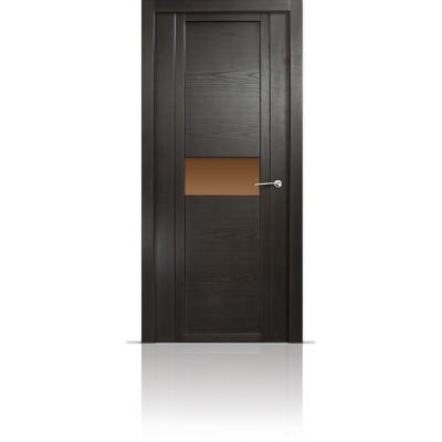 Межкомнатная Дверь Мильяна Qdo-H Ясень винтаж стекло бронзовое