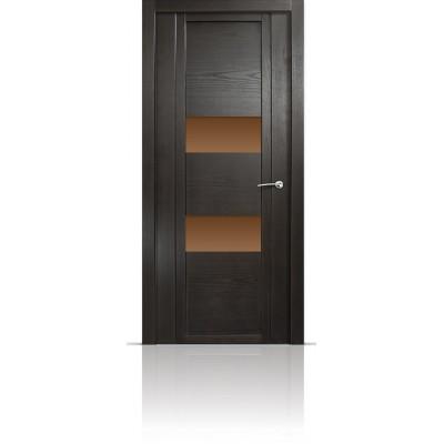 Межкомнатная Дверь Мильяна Qdo-N Ясень винтаж стекло бронзовое