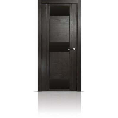 Межкомнатная Дверь Мильяна Qdo-R Ясень винтаж стекло черное