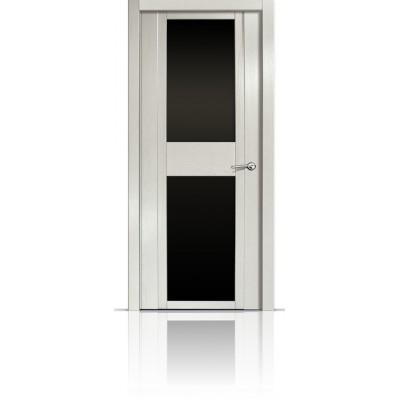 Межкомнатная Дверь Мильяна Qdo-D Ясень жемчуг стекло черное