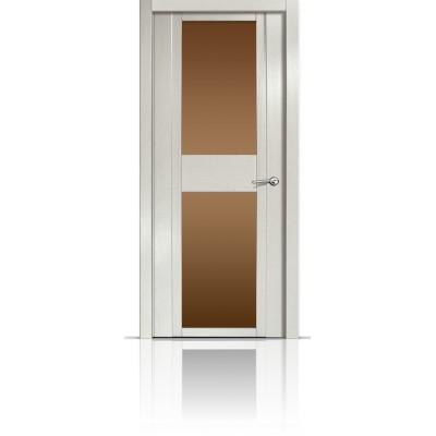 Межкомнатная Дверь Мильяна Qdo-D Ясень жемчуг стекло бронзовое