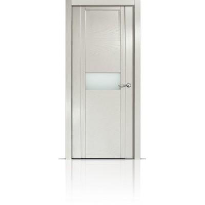 Межкомнатная Дверь Мильяна Qdo-H Ясень жемчуг стекло белое