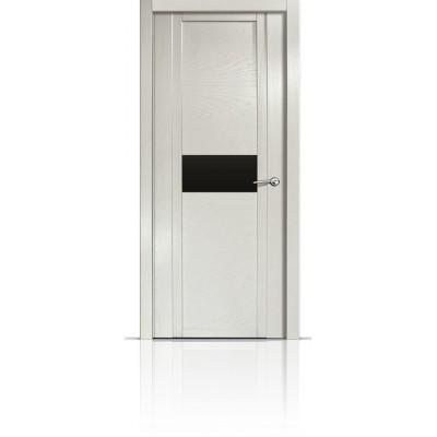 Межкомнатная Дверь Мильяна Qdo-H Ясень жемчуг стекло черное