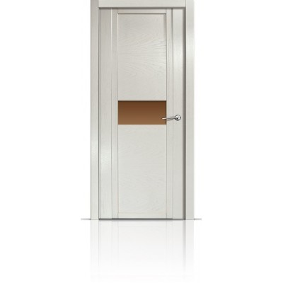 Межкомнатная Дверь Мильяна Qdo-H Ясень жемчуг стекло бронзовое