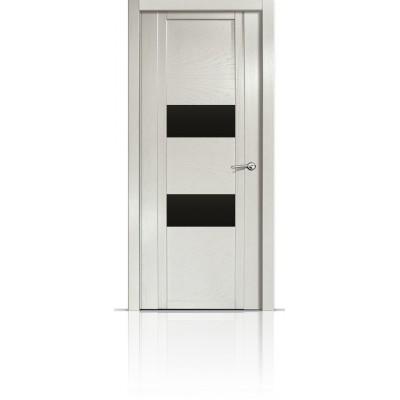 Межкомнатная Дверь Мильяна Qdo-N Ясень жемчуг стекло черное
