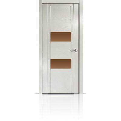 Межкомнатная Дверь Мильяна Qdo-N Ясень жемчуг стекло бронзовое