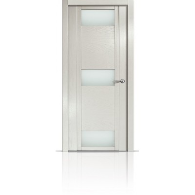 Межкомнатная Дверь Мильяна Qdo-R Ясень жемчуг стекло белое