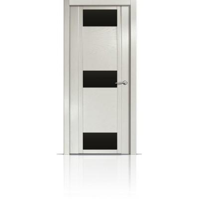 Межкомнатная Дверь Мильяна Qdo-R Ясень жемчуг стекло черное
