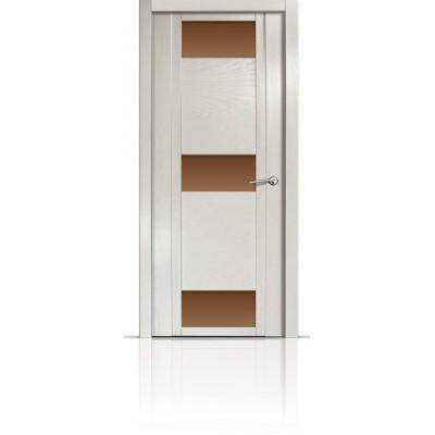 Межкомнатная Дверь Мильяна Qdo-R Ясень жемчуг стекло бронзовое