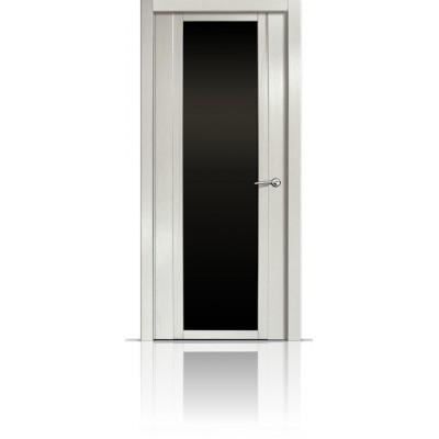 Межкомнатная Дверь Мильяна Qdo-X Ясень жемчуг стекло черное