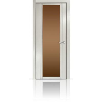 Межкомнатная Дверь Мильяна Qdo-X Ясень жемчуг стекло бронзовое