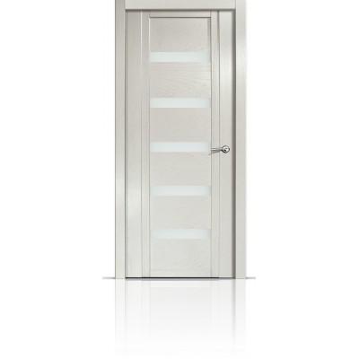 Межкомнатная Дверь Мильяна Qdo-Z Ясень жемчуг стекло белое