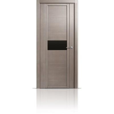 Межкомнатная Дверь Мильяна Qdo-H Дуб грейвуд стекло черное