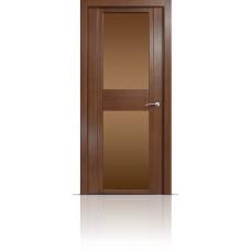 Дверь Мильяна Qdo-D Дуб палисандр стекло бронзовое