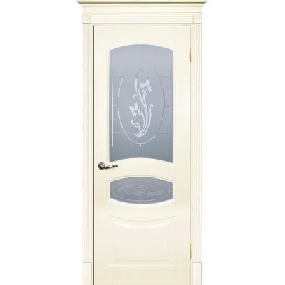 Межкомнатная дверь крашенная дверь Смальта-02 эмаль слоновая кость RAL 1013 ДО