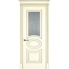 Межкомнатная дверь Смальта-03 слоновая кость RAL 1013 золото ДО