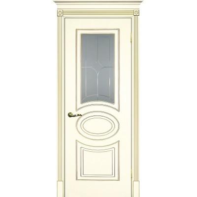 Межкомнатная дверь крашенная дверь Смальта-03 эмаль слоновая кость RAL 1013 патина золото ДО