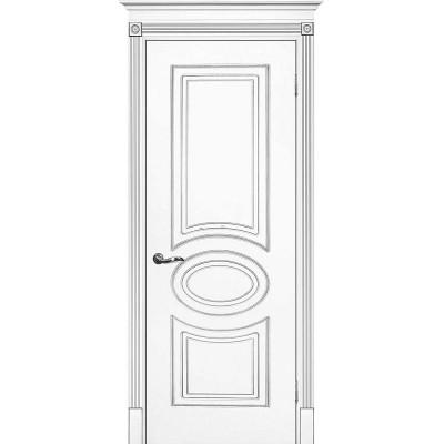 Межкомнатная дверь крашенная дверь Смальта-03 эмаль белая RAL 9003 серебряная патина ДГ