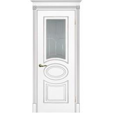 Межкомнатная дверь Смальта-03 белая RAL 9003 серебро ДО
