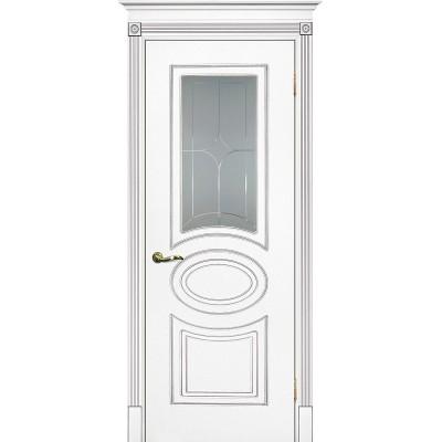 Межкомнатная дверь крашенная дверь Смальта-03 эмаль белая RAL 9003 серебряная патина ДО