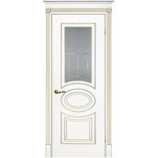 Межкомнатная дверь Смальта-03 белая RAL 9003 золото ДО